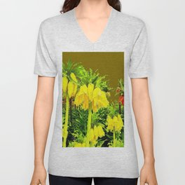 YELLOW CROWN IMPERIAL WATERCOLOR  FLOWERS Unisex V-Neck