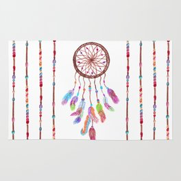 Hand Painted Watercolor Dreamcatcher Beads Feather Rug