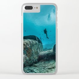 shipwreck and diver Clear iPhone Case