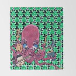 Kuniyoshi Musical Octopus with Bishamon Kikko Background Throw Blanket