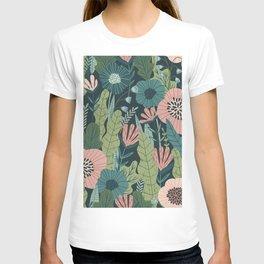 Lush Colourful Floral Green Jungle Pattern T-shirt