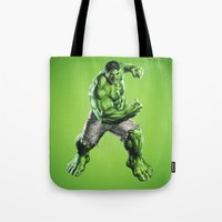 hulk Tote Bags featuring HULK by Hands in the Sky
