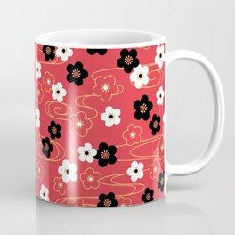 Red Sakura Kimono Pattern Coffee Mug