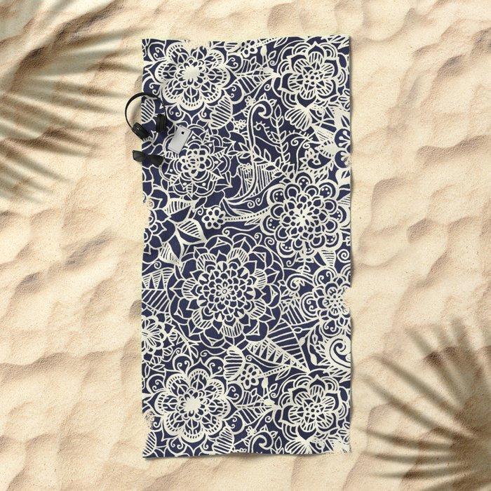 Lace on Nautical Navy Blue Beach Towel