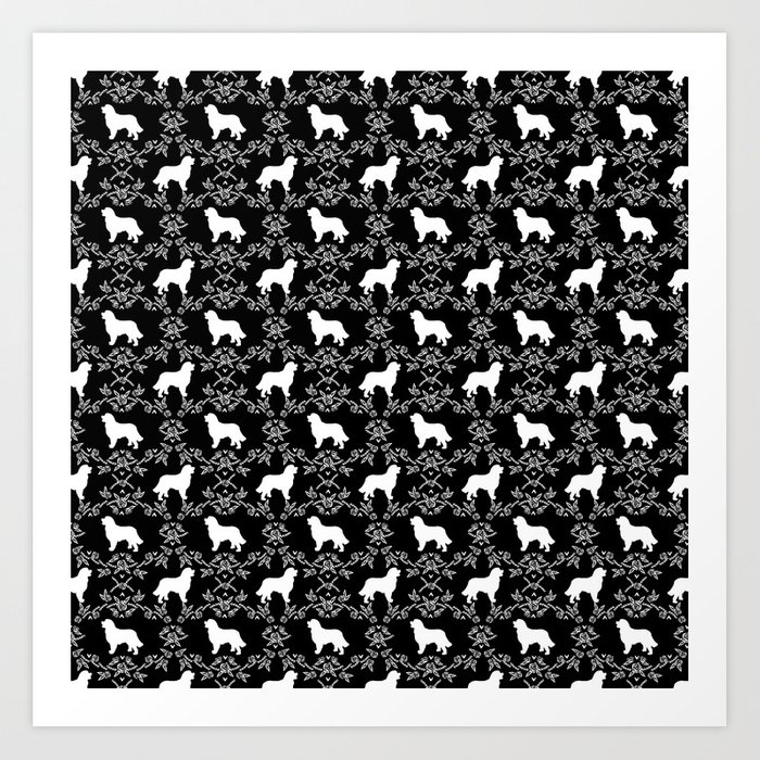 Bernese Mountain Dog florals dog pattern minimal cute gifts for dog lover silhouette black and white Art Print