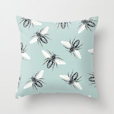 bees on blue Throw Pillow