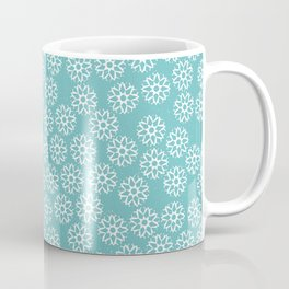 Artistic hand painted pastel teal white snow flakes pattern Coffee Mug