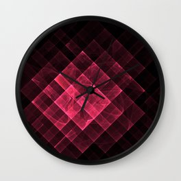 Red geometric fractal with many squares. Wall Clock