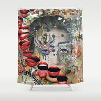 lip Shower Curtains featuring Lip Service by Katy Hirschfeld