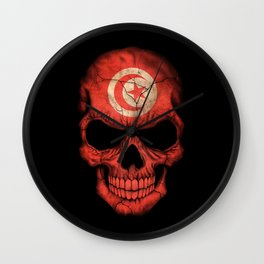 Dark Skull with Flag of Tunisia Wall Clock