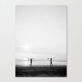 Surfer couple | Wanderlust photography of surfer couple | Coastal wall art. Canvas Print