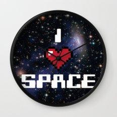 I Heart Space Retro Galaxy Wall Clock