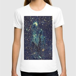 Pillars of Creation GalaxY  Teal Blue & Gold T-shirt