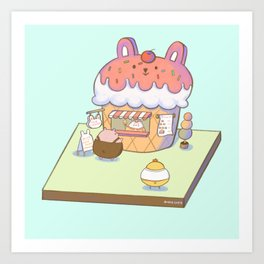 Bunny's Ice Cream Shop Art Print