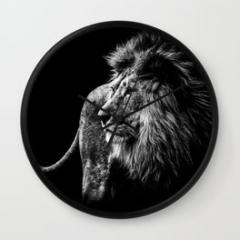 Lion Portrait in black and white Wall Clock