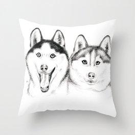 Husky Buddies Throw Pillow