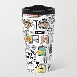 Pattern Stay Happy Animals Metal Travel Mug