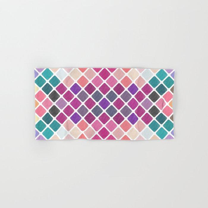 Watercolor Geometric Pattern III Hand & Bath Towel