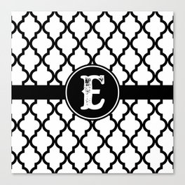 Black Monogram: Letter E Canvas Print