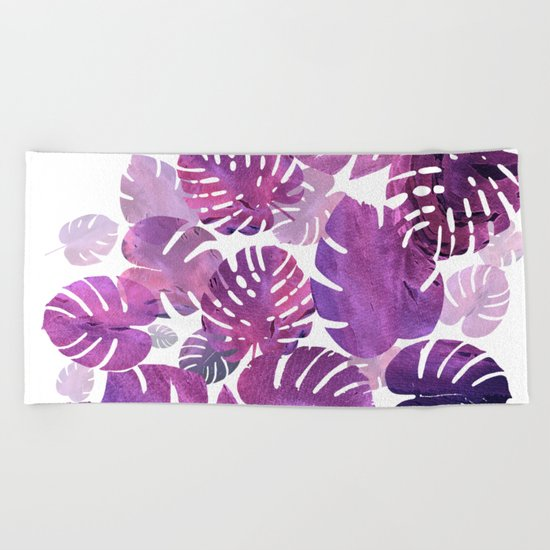 Violet Tropical Beach Towel