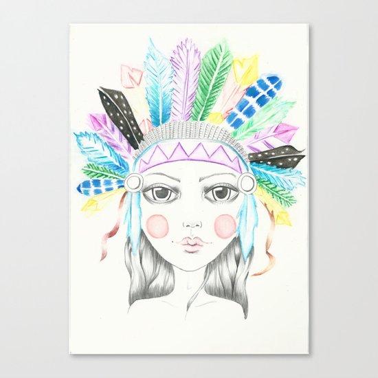 Indian Headdress Girl Canvas Print