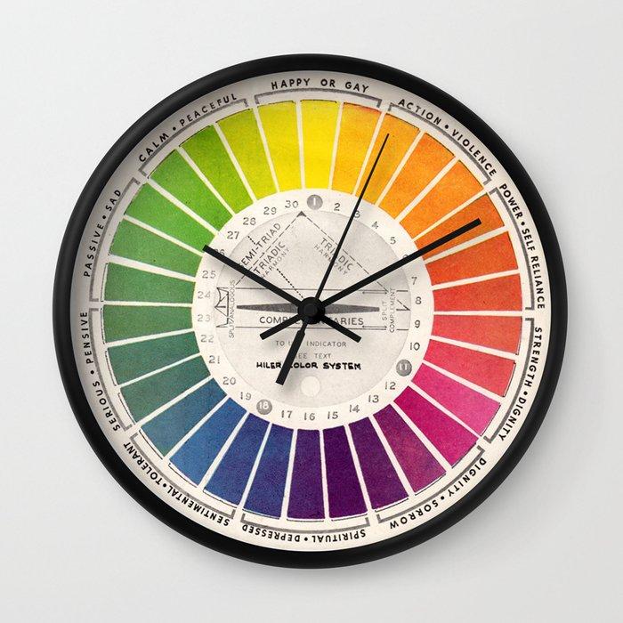 Vintage Color Wheel - Art Teaching Tool - Rainbow Mood Chart Wall Clock