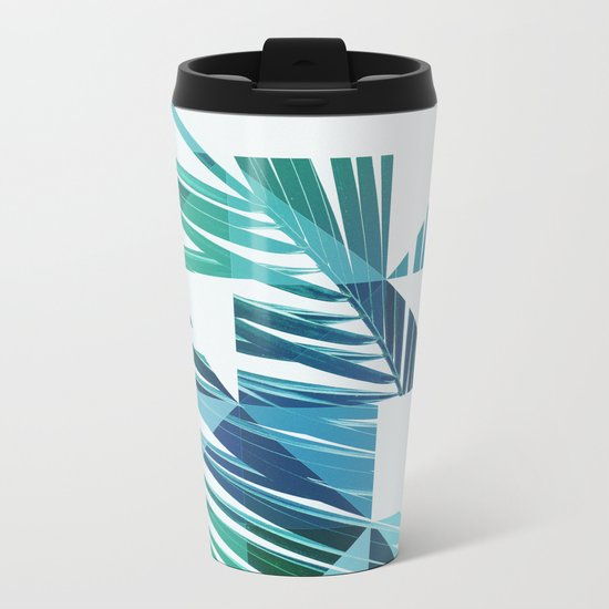 Geometric Palm Leave - blue & green Metal Travel Mug