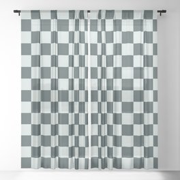 Checkerboard Pattern Inspired By Night Watch PPG1145-7 & Cave Pearl PPG1145-3 Sheer Curtain