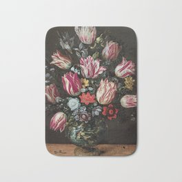 Andries Daniels and Frans Francken the Younger - Vase with Tulips Bath Mat