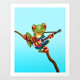 Tree Frog Playing Acoustic Guitar with Flag of Colorado Art Print