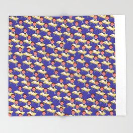 Pattern of school children at the desk. Many children in the classroom Throw Blanket