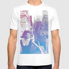 Natalie Wood Cityscape Mens Fitted Tee LARGE White