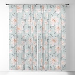 Watercolor peony Sheer Curtain