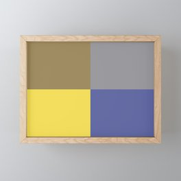 Yellow Gray Brown Blue Geometric Minimal Design Framed Mini Art Print