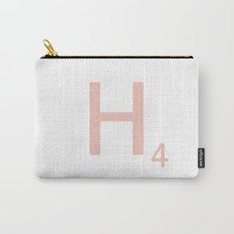 Pink Scrabble Letter H - Scrabble Tile Art Carry-All Pouch