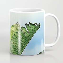 Frayed Palm Fronds Against Blue Sky Coffee Mug