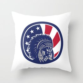Native American Indian Chief USA Flag Icon Throw Pillow