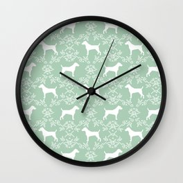 Jack Russell Terrier floral silhouette dog breed pet pattern silhouettes dog gifts mint Wall Clock