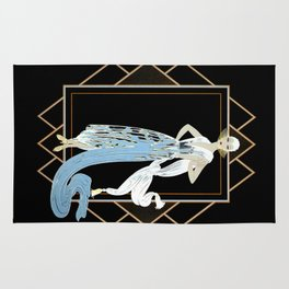 "Art Deco Design ""California – The Turquoise Dress"" by Erté Rug"