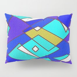 Blue white and turquoise Pillow Sham