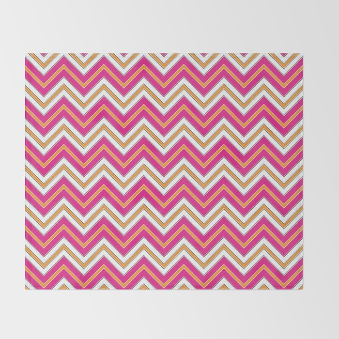 Chevron Pattern | Zig Zags | Pink, Orange, Black and White | Throw Blanket
