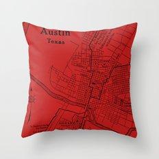 Vintage Austin Red Throw Pillow