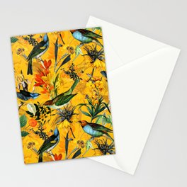 Vintage Flowers And Colorful Birds In Exotic Yellow Botanical Garden Stationery Cards