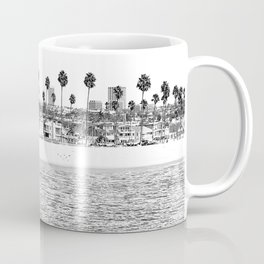 Vintage Newport Beach Print {4 of 4} | Photography Ocean Palm Trees B&W Tropical Summer Sky Coffee Mug
