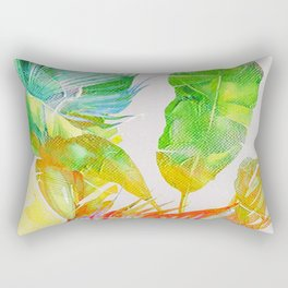 Colorful tropical leaves vintage design Rectangular Pillow