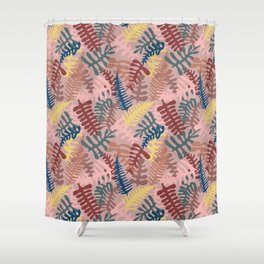 Mod Leaf Toss in Blush Shower Curtain