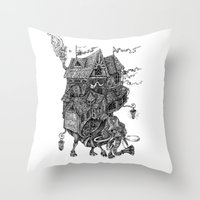 library Throw Pillows featuring the wandering library 2 by vasodelirium