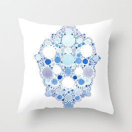 Blue Watercolor Dots Throw Pillow