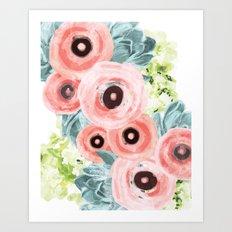 Ranunculus, Hydrangeas, Succulents Art Print