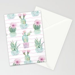 Cute Potted Cacti Stripe Pattern Stationery Cards
